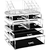 SONGMICS Acrylic Clear Makeup Organiser Cosmetic Storage Makeup Case 3 Pieces with 6 Drawers