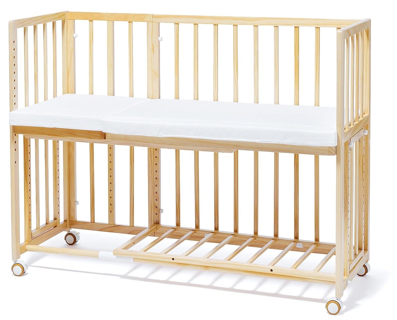 大和屋 そいねーる プラス ロング ベビーベッド ナチュラルNA 安全に添い寝ができる、ママと繋がるキャスター付ベビーベッド  ナチュラル B074HY7XFR