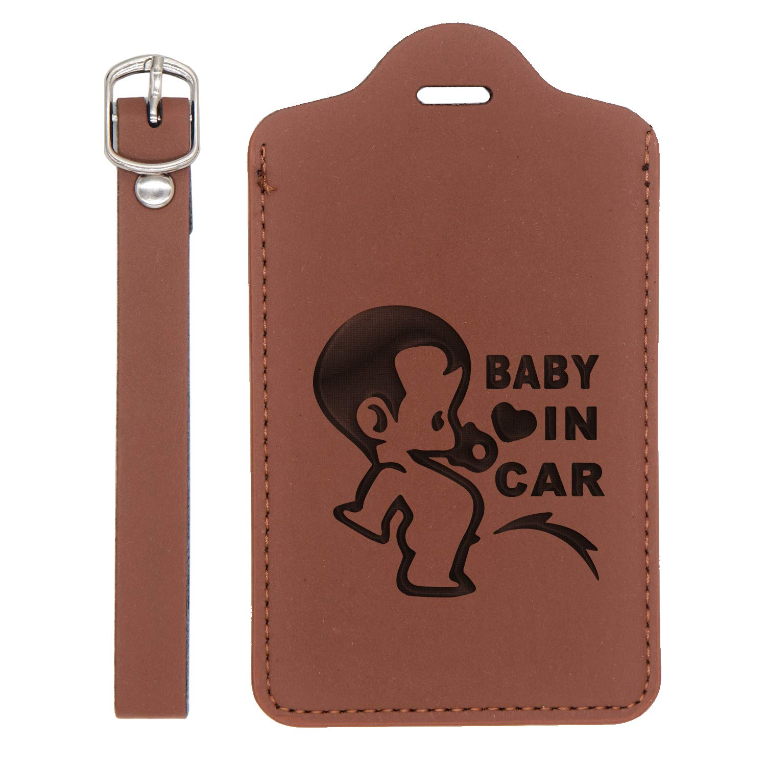 - United States Standard Handcrafted By Mastercraftsmen For Any Type Of Luggage Baby In Car Engraved Synthetic Pu Leather Luggage Tag London Tan - Set Of 2