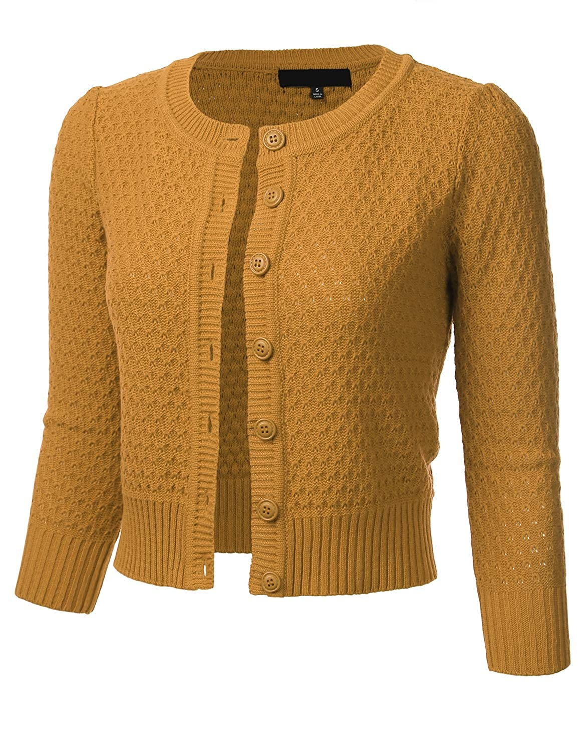 1940s Style Sweaters and Knit Tops FLORIA Womens Button Down 3/4 Sleeve Crew Neck Cotton Knit Cropped Cardigan Sweater (S-3X) $24.99 AT vintagedancer.com