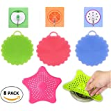 Silicone Sponge Home Kitchen Scrubber Multi Purpose Antibacterial Brush, Cleaning Fruit, Vegetable, Non Stick Pot [S.G.L] Value Pack: 3 Scrubbers + 3 Hooks + 2 Sink Drain Filter / Strainer= 8 PCS
