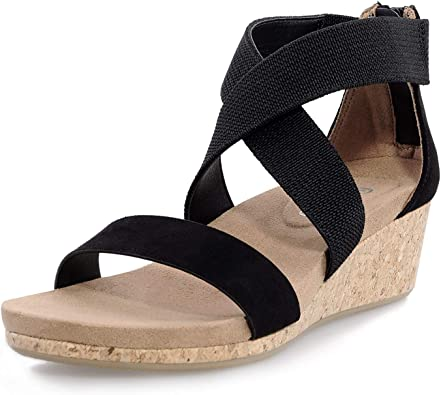 Amazon.com | shoeslocker Women's Wedge Sandals Platform Sandals Open Toe  Cork Elastic Ankle Strap Sandals | Platforms & Wedges