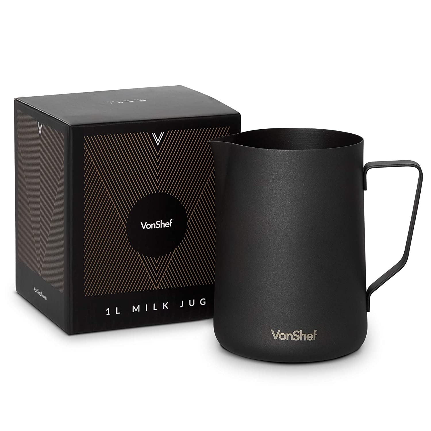 VonShef 34 Ounce Milk Frothing Pitcher Jug, Matte Black Stainless Steel, Suitable for Coffee, Latte and Frothing Milk