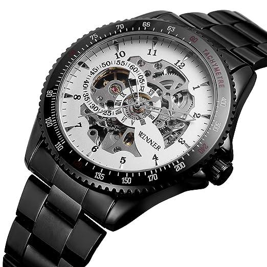 WINNER - Reloj de Pulsera para Hombre con Esqueleto de Acero Inoxidable Envejecido, Color Negro: Amazon.es: Relojes