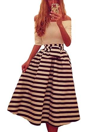 Vemubapis Women Elegant Off The Shoulder Vintage 50s 60s Stripes Print Patchwork Swing Dress at Amazon Womens Clothing store: