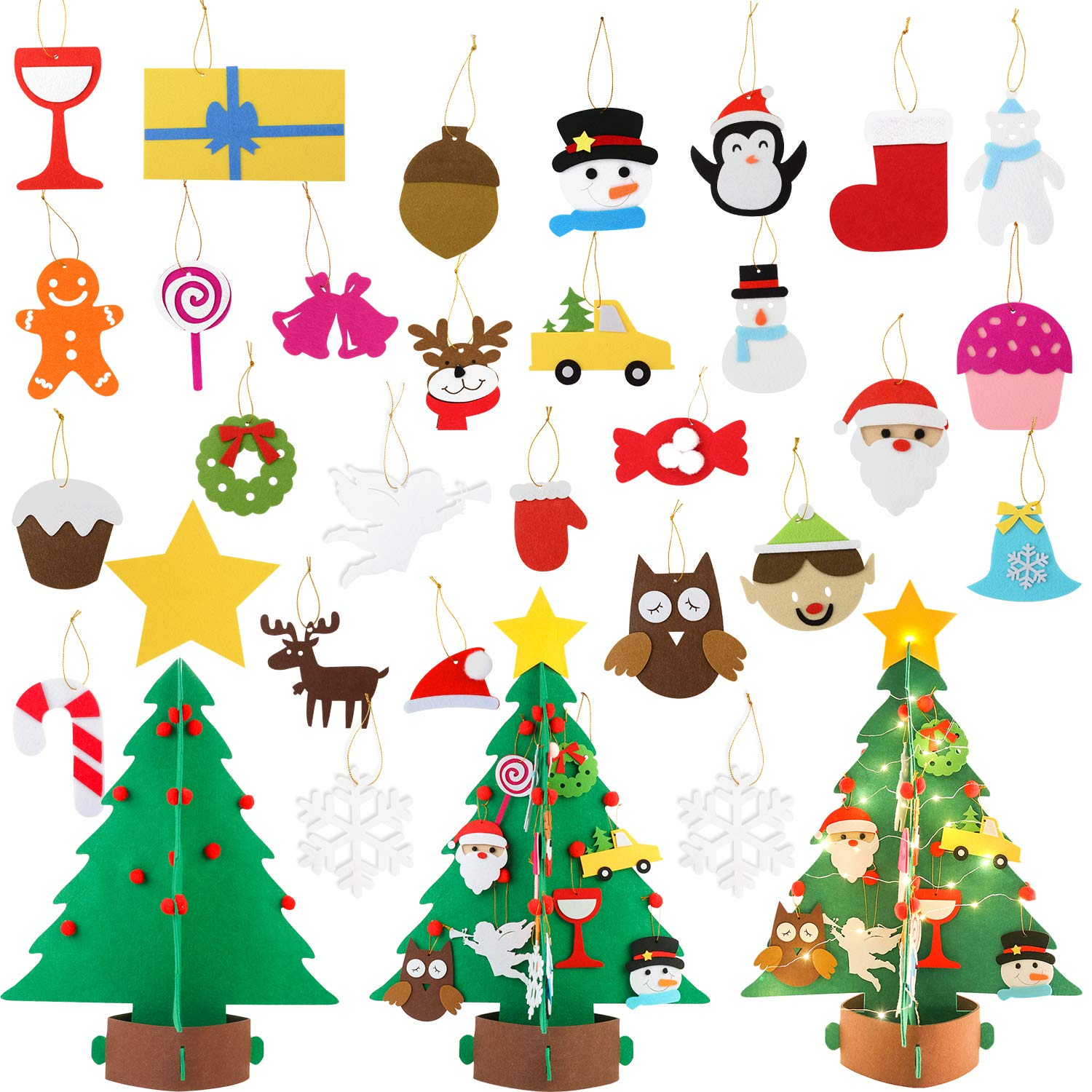 Fansport 3D DIY Felt Christmas Tree Set with 26 Pcs Xmas Ornaments for Christmas Decor, Upgraded DIY Christmas Tree for Christmas Tree for Kids Xmas Decoration