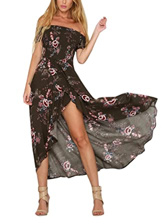 Women s Summer Boho Off The Shoulder Long Maxi Casual Dresses Split (S ce8e713b1e01