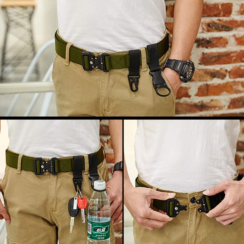2 Piezas Cintur/ón Hombre T/áctico Militar Correa de Nylon Ajustable Lona Hebilla Pl/ástica y Hebilla Metal