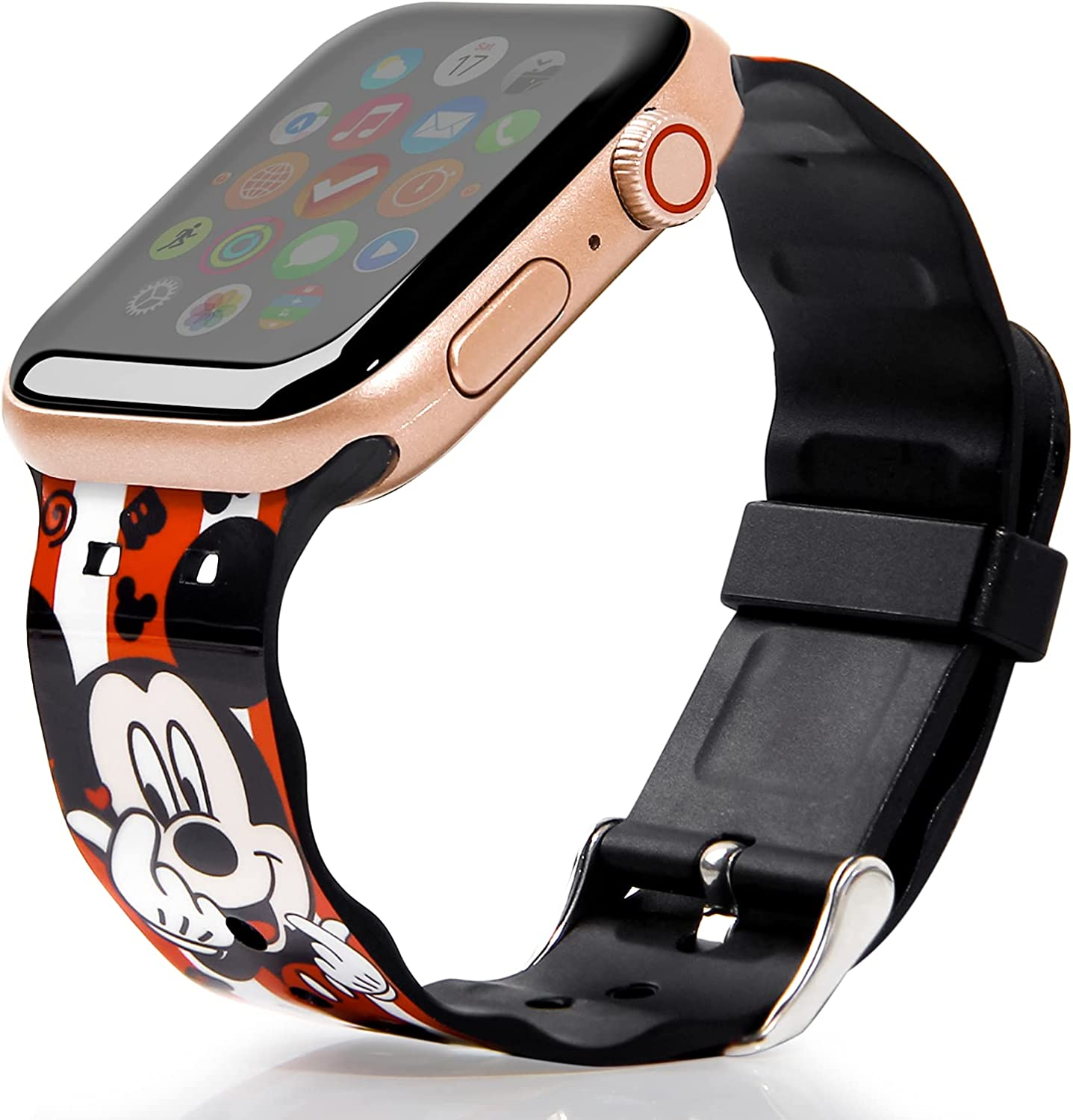 Cartoon Minnie Mickey Mouse for Apple Watch Band 44mm 42mm 40mm 38mm, Soft TPU Silicone Replacement Strap Wristbands for iWatch Series SE 6 5 4 3 2 1