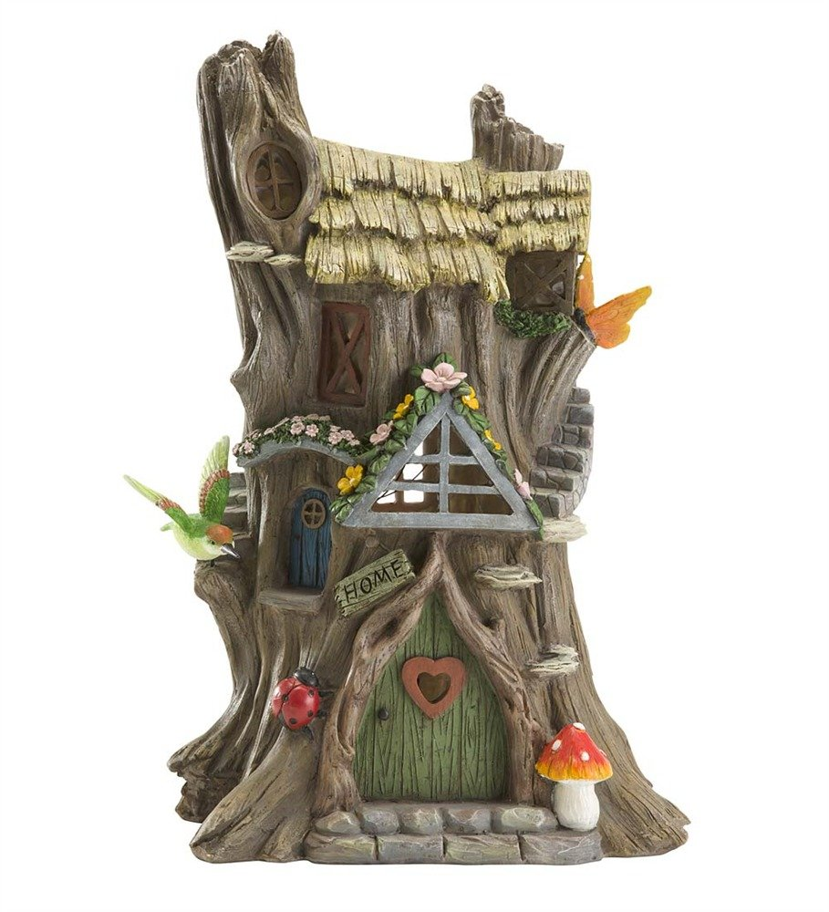 Tree stump house - Amazon Com Wind And Weather Resin Solar Tree Stump House Patio Lawn Garden