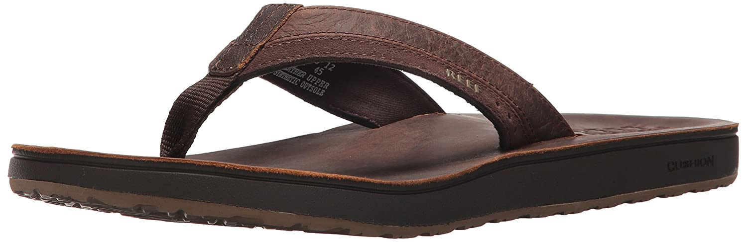 TALLA 44 EU. Reef Leather Contoured Cushion, Chanclas para Hombre