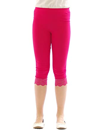 925dd3ec84aa43 Mädchen Kinder Leggings Leggins Hose Capri 3/4 kurz mit Spitze Baumwolle  Pink 116