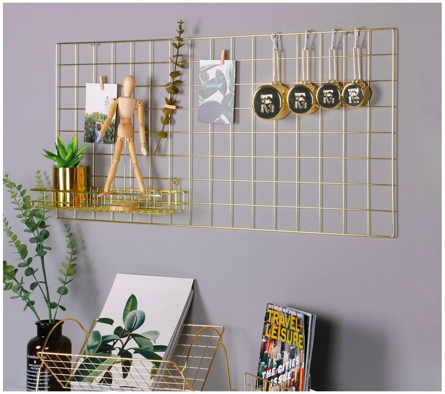 Simmer Stone Gold Wall Grid Panel Photo Hanging Display & Wall Decoration Organizer, Multi-Functional Wall Storage Display Grid, 10 Clips & 4 Nails Offered, Set of 1, Size 17.7''x37.4''