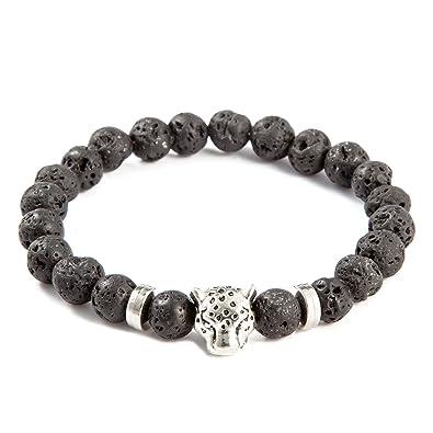 17f9155fa2 Amazon.com  QSKS Leopard Head Charm with Lava Stone Beaded Bracelet ...