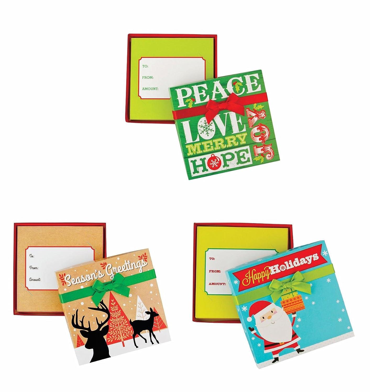 Amazon.com: Pack de 3 caja titular de la tarjeta regalo con ...