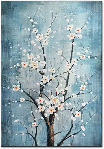 FLY SPRAY 100 Hand Painted Oil Paintings Canvas Wall Art Tree Flowers Blossom Blue Artwork Stretched Framed Texture Landscape Modern Abstract Elegant Painting Decor Living Room Bedroom Office Home