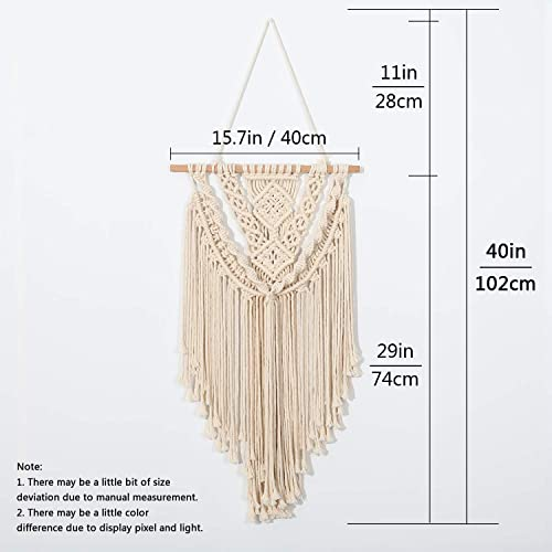 AWAYTR Boho Macrame Wall Hanging Decor – Decorative Wall Art Woven Tapestry Home Decorations for The Living Room Bedroom or Apartment,29 L x 15.7 W Beige 5