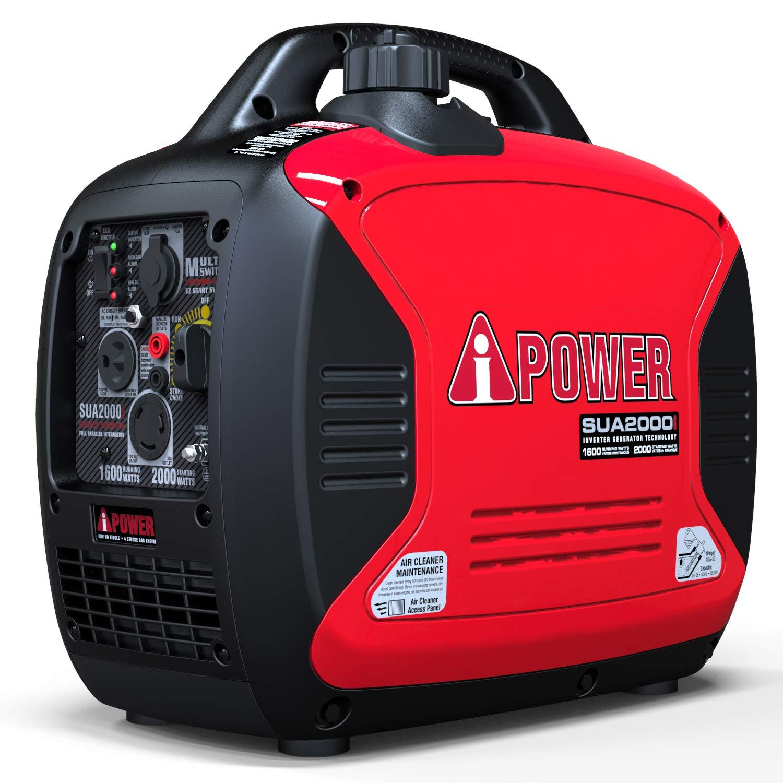 A-iPower SUA2000iV Super Quiet 2000-Watt Portable Inverter Generator CARB/EPA, 2000 Watt, RV Ready by A-iPower