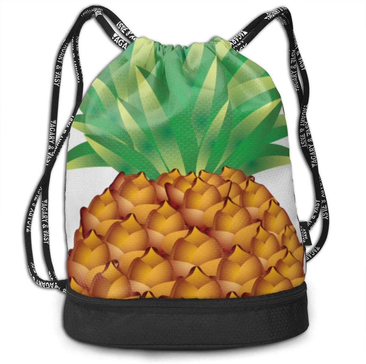 Golden Pineapple Print Drawstring Bag Backpack Sport Travel Gym School Hiking Yoga Beach Cinch Bags Bundle Backpack For Women//Men