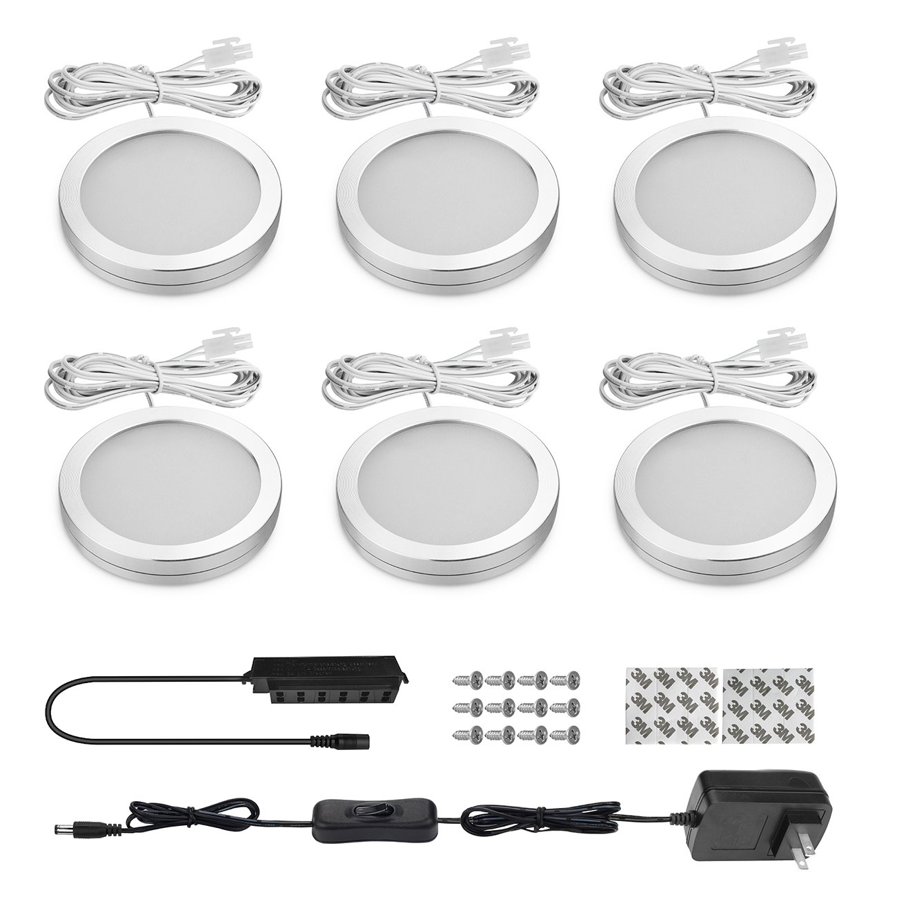 Shine HAI LED Under Cabinet Lighting Kit, LED Puck Light, 1140 Lumens 5000K Daylight White, All Accessories Included, Kitchen, Closet Lights, Set of 6