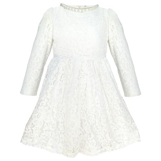 Amazon.com: QQBBGL Big Girls White Lace Cotton Wedding Dress Little ...