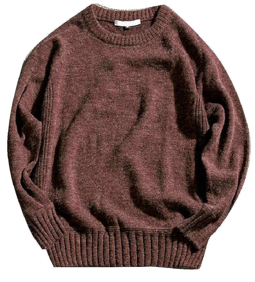 Qiangjinjiu Men Pullover Sweaters Knit Crew Neck Slim Fit Long Sleeve Plain Casual Sweaters