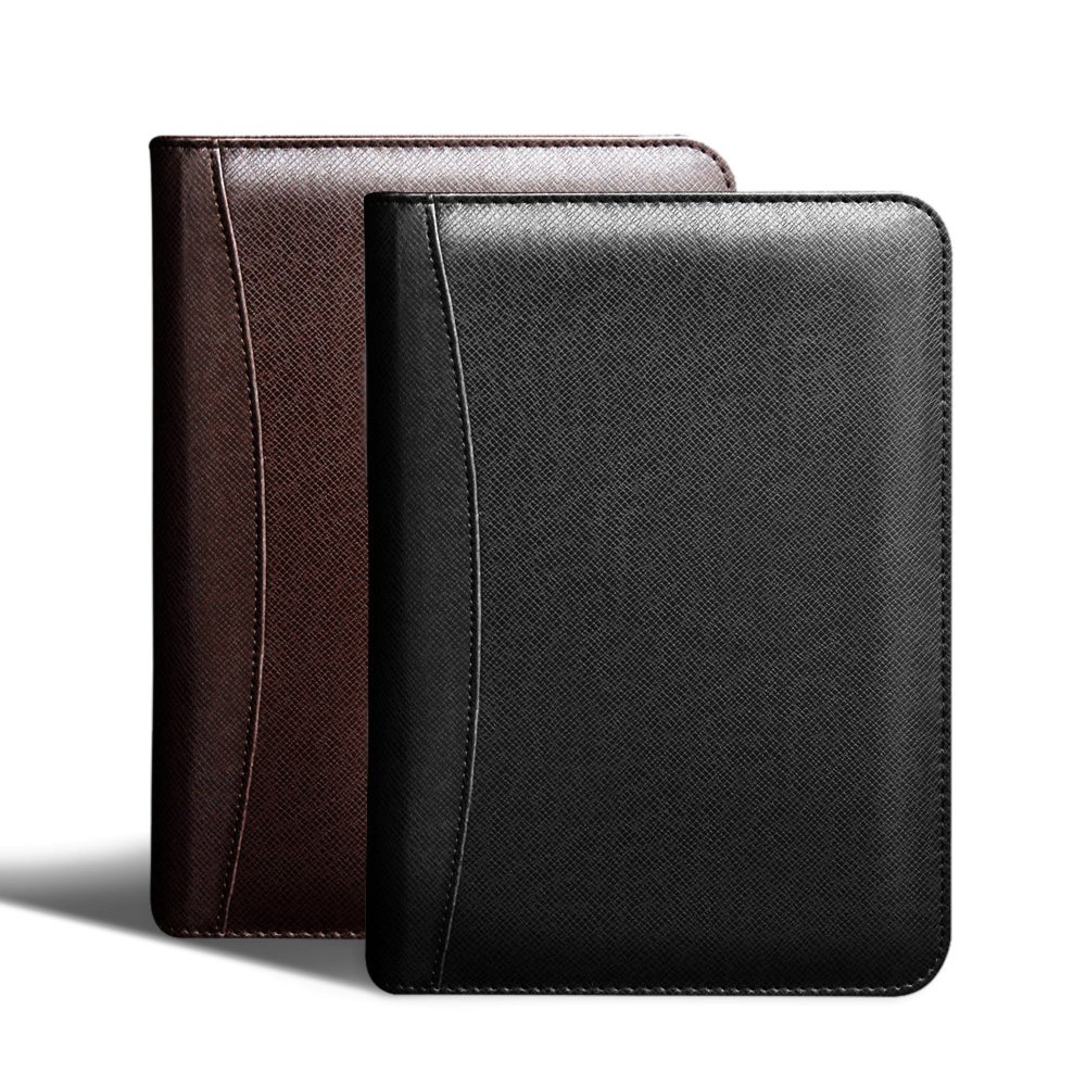 Zhi Jin Leather Business Notebook Portfolio Folder Calculator Diary Wallet Manager Compact Ruled Journal Wallet Zipper Black A5
