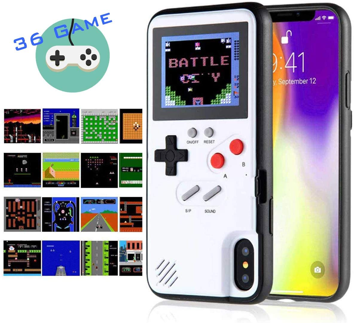 Amazon Com Gameboy Iphone Case Handheld Game Console Case Protective Cover Gameboy Phone Case For Iphone 6 6s 7 8 Plus X Xr Xs Max With 36 Classic Retro Games White Iphone Xs Max
