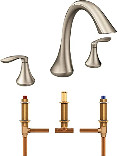 Moen T943BN Eva Two-Handle High-Arc Roman Tub Faucet without Valve, Brushed Nickel with Moen 4792 Two Handle Roman Tub Valve Adjustable 1 2-Inch CC Connection, Chrome