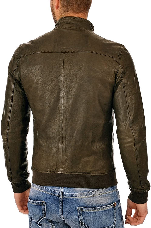 Men Leather Jacket Slim Fit Biker Motorcycle Genuine Lambskin Jacket T722