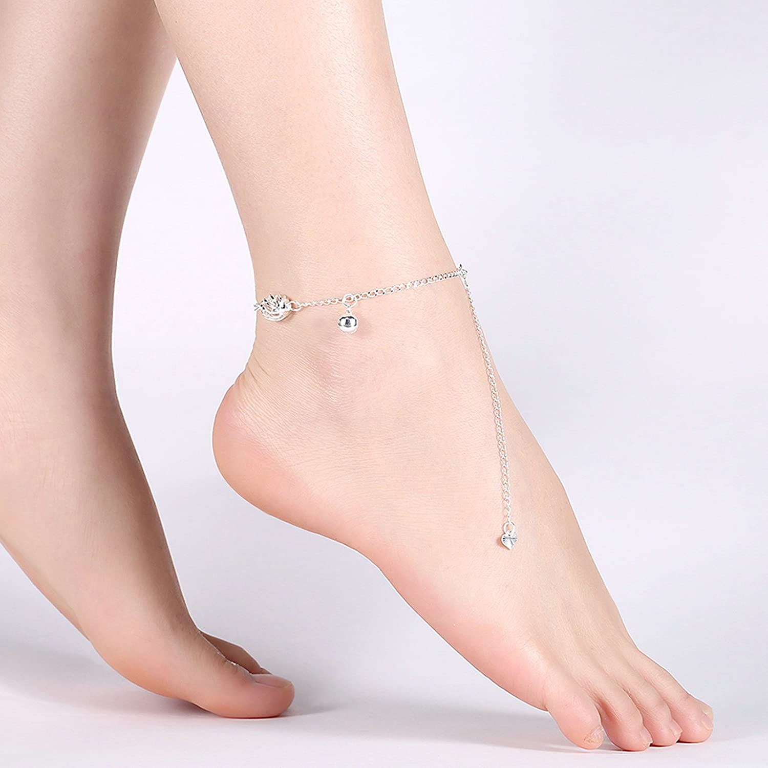 Bishilin Foot Anklet Jewelry Curb Bells Ball anklet extender 20 CM