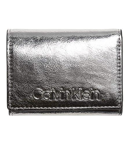 Calvin Klein - Small Wallet Met, Carteras Mujer, Gris (Silver), 1x10