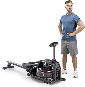 Marcy Water Rowing Machine Cardio Training Equipment, 300-lb Capacity NS-6070RW, Black