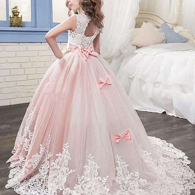 Amazon.com: OBEEII Kid Girl Lace Flower Tutu Dress Wedding First Communion Trailing Maxi Gown: Clothing