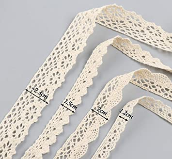 Sweelov 20M Vintage Lace Ribbon Beige Lace Ribbon 4 Rolls Cotton Decorative Ribbon Lace Trim for Sewing Craft Wedding Decoration Gift Box