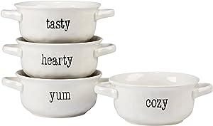 Certified International Corp It's Just Words 32 oz. Soup Crocks, Assorted Designs, Set of 4, Multicolor