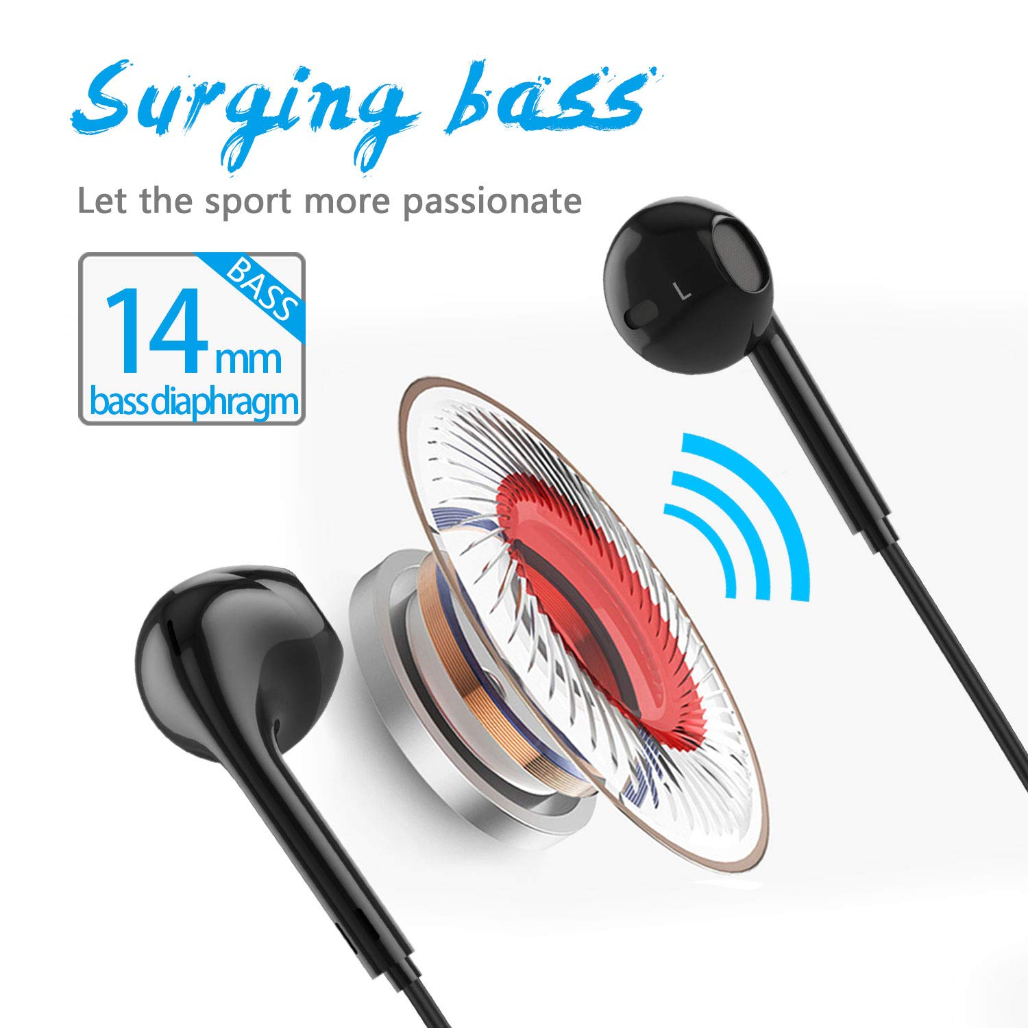 Bluetooth Headphones, Wireless Bluetooth Headset 4.1 AptX Stereo Earphones, IPX4 Waterproof Lightweight Earbuds, 6 Hrs Playtime for Commuting, Sports, Gym, Traveling with cVc 6.0 Noise Cancelling Mic