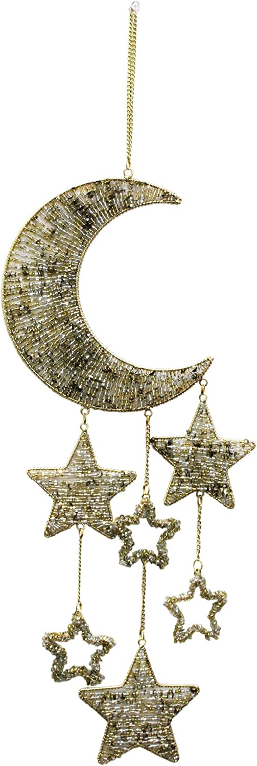 Treasure Hunt Moon & Stars Beaded with Strings Home Interior Decoration Items Wall Hanging Dimension: in 7 X 18.5 inch Approx.