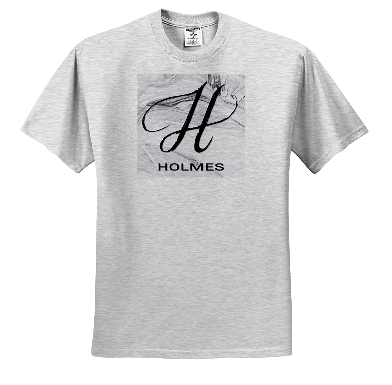 White Marble Monogram H 3dRose BrooklynMeme Monograms T-Shirts Holmes