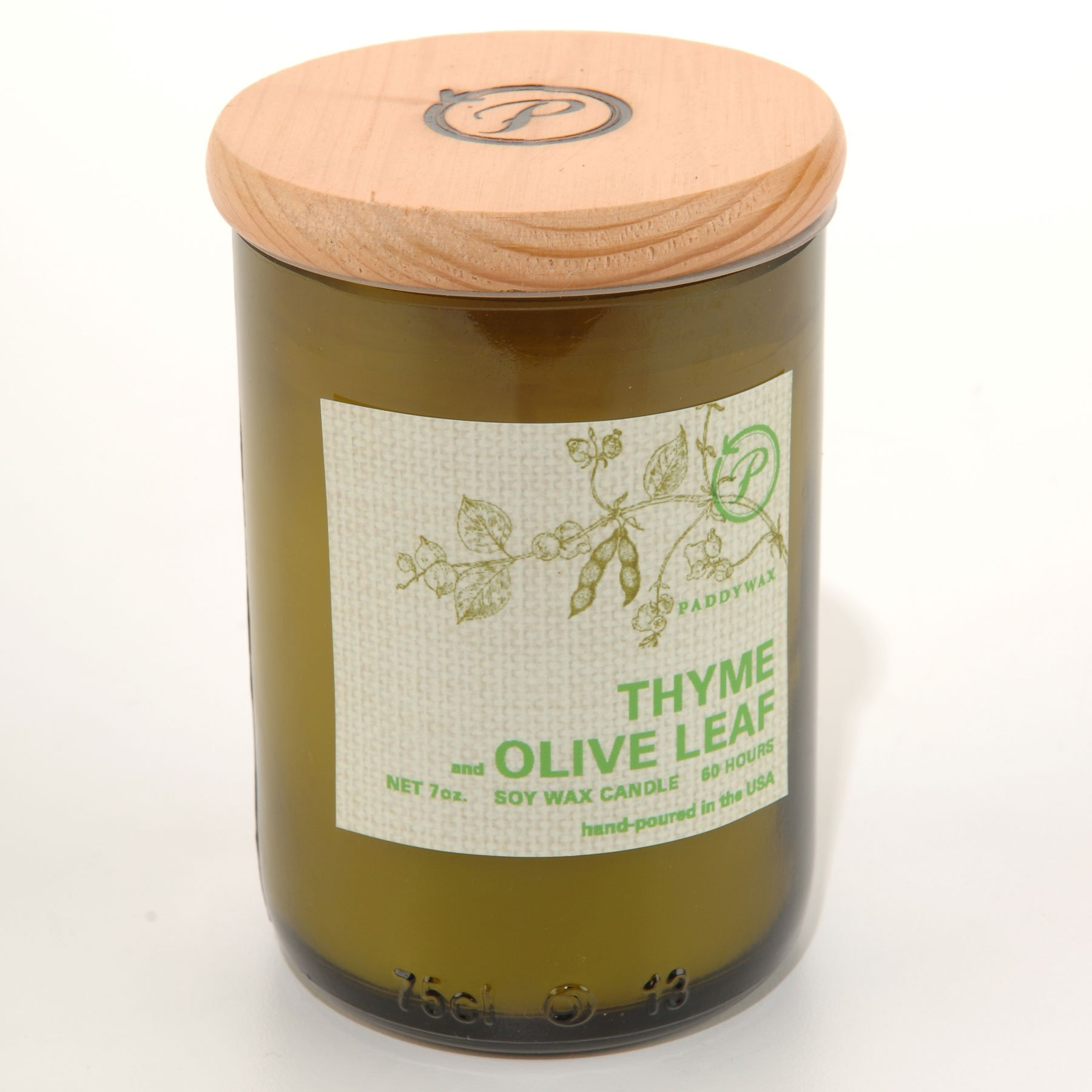 Paddywax Eco Green 7 oz Glass Upcycled Candle Thyme & Olive Leaf