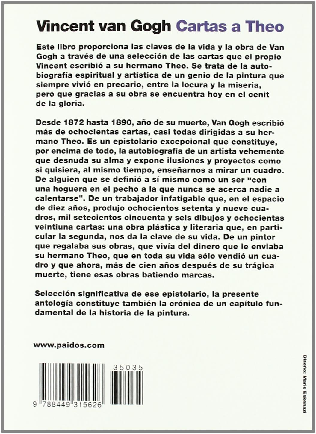 Cartas a Theo: Vincent van Gogh: 9788449315626: Amazon.com ...