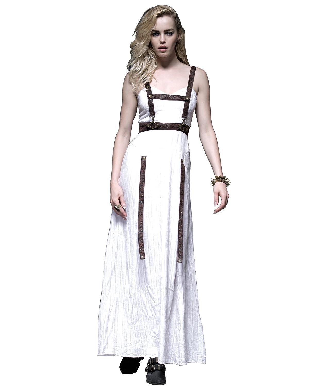 Q-219 Steampunk White Jet Printing Cotton Long Strap Dress