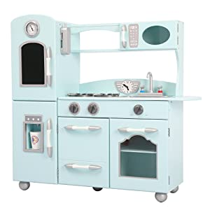 Teamson Kids Wooden Retro Play Kitchen, Mint