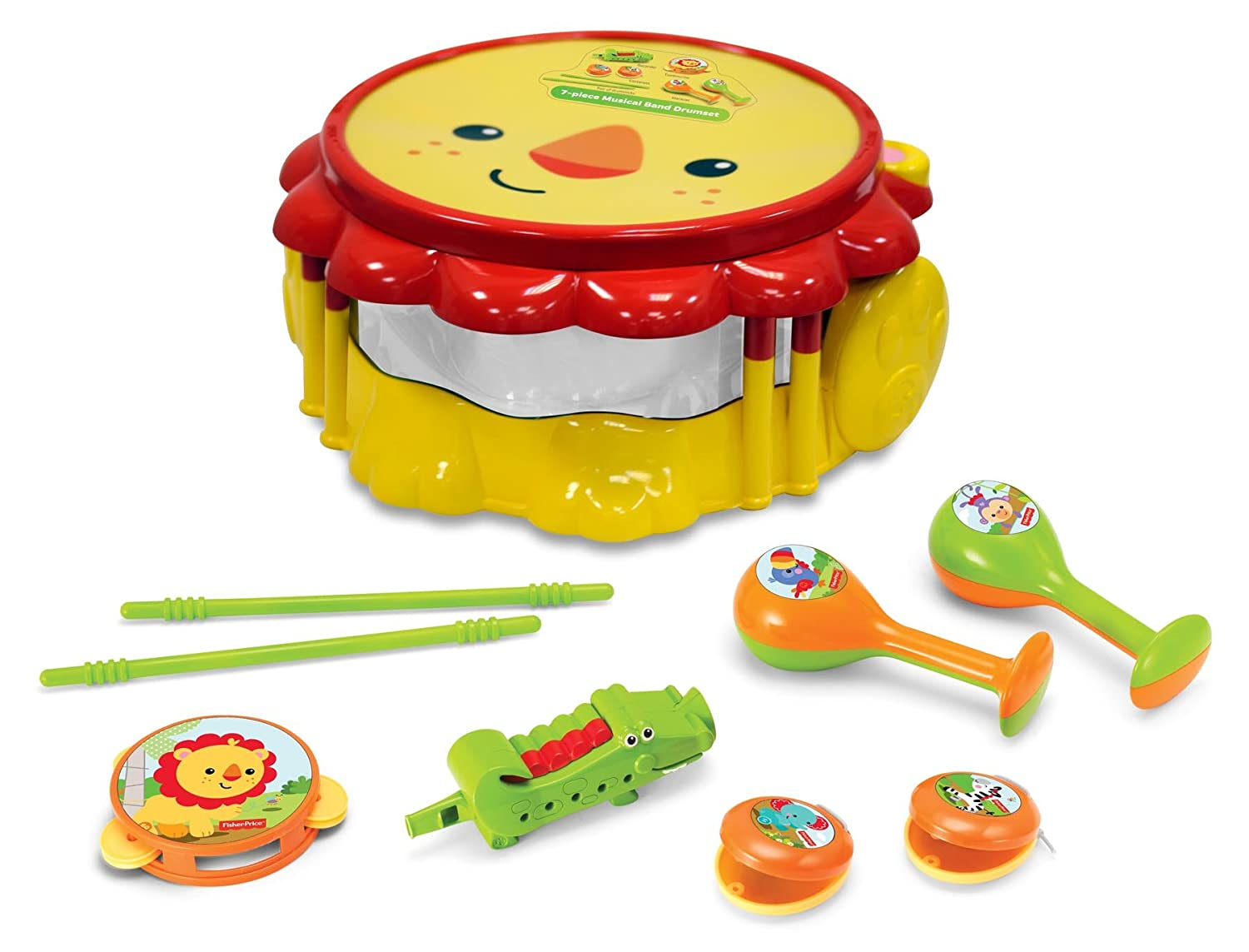 Fisher-Price KFP2178 Lion Musical Band Drum Set, Multicoloured FISHER PRICE