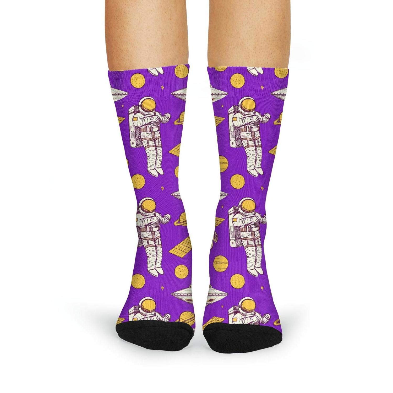 XIdan-die Womens Over-the-Calf Tube Socks Purple Astronaut Dad Moisture Wicking Casual Socks