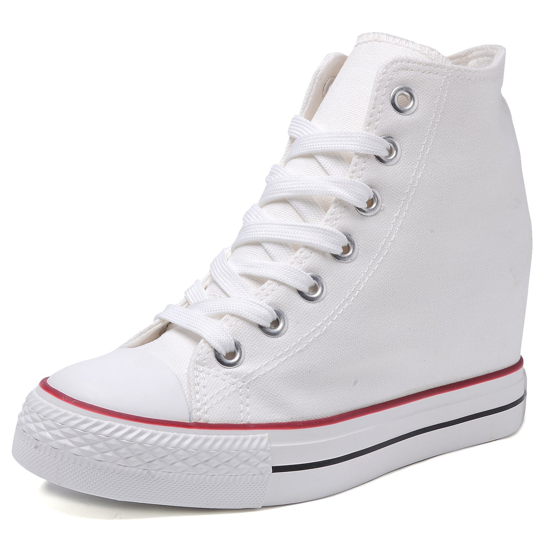 05959f0ee7ba Catata Women Casual Canvas Lace Up High Top Hidden Heel Wedge Shoes  Platform Sneakers
