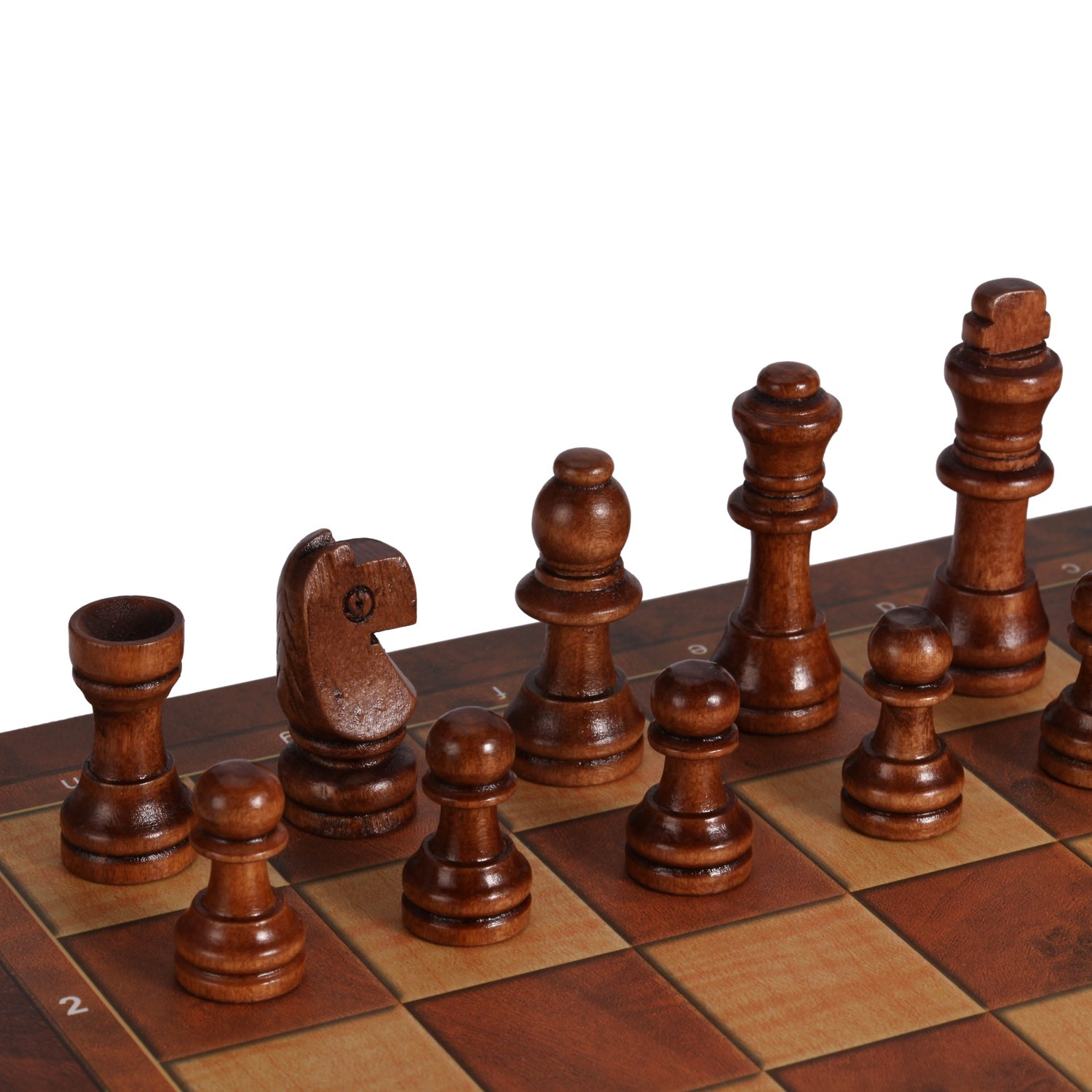 Joview 3-in-1 Folding Travel Chess /& Checkers /& Backgammon Wooden Chess Set for Kids or Adults Chess Board Game 9.5X9.5X0.8Inch Beige/&Dark Brown Chess Pieces /…