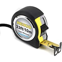 HEIKIO Tape Measure 33 Feet(10M), Double-sided Metric and Inch Scale with Fractions, Double Stop Buttons Tape Ruler with…
