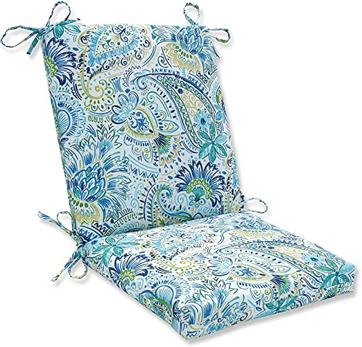 Pillow Perfect Outdoor Indoor Gilford Baltic Square Corner Chair Cushion 36 5 X 18 Blue Home Kitchen