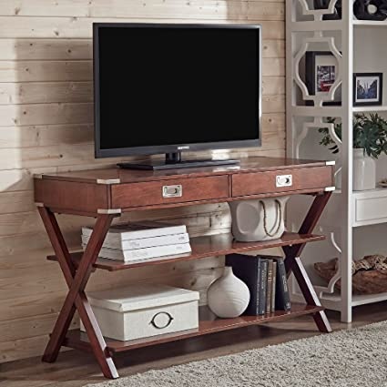 INSPIRE Q Modern Transitional Kenton 2 Drawer Wood X Base Console Sofa Table  TV Stand